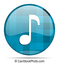music blue round modern design internet icon on white background