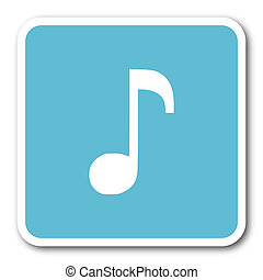 music blue square internet flat design icon