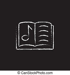 Music book icon drawn in chalk.