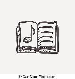 Music book sketch icon