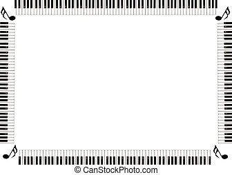 piano musical border with music notes in the corners