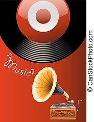Music box - Music poster with juke box and recorder