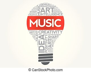 Music bulb word cloud collage concept