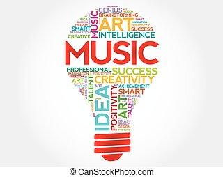 Music bulb word cloud concept