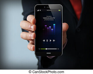 music businessman smartphone