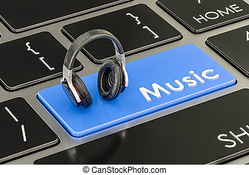 Music button, blue key on keyboard with headphones. 3D rendering