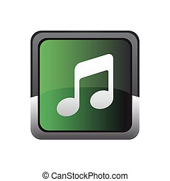 Music button icon vector