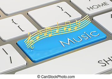 music button, key on keyboard. 3D rendering