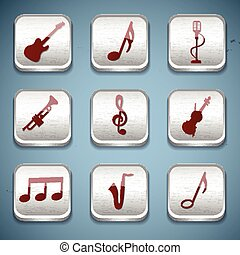 Music Buttons Icon Set