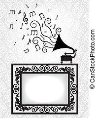 antique frame and gramophone - music card with antique frame...