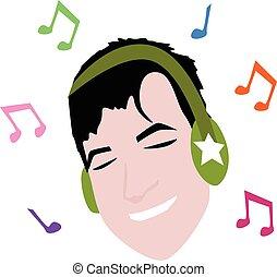 music., caricatura, homem, fone