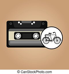 music cassette bicycle vintage background desgin