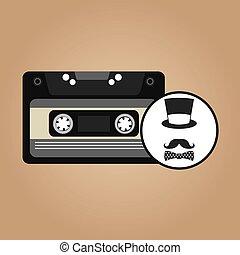 music cassette hat mustache bow tie vintage background desgin