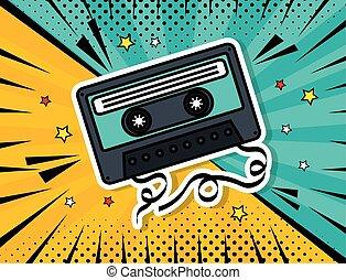 music cassette pop art style