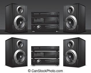 music center - Audio system, hi-fi music center, vector...
