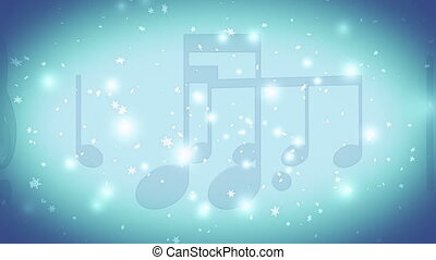 Music Christmas winter snow flakes blue light blue and white looping background