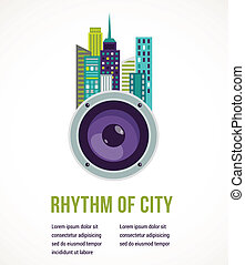 Music city - amplifier and buildings