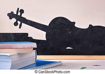 Music class concept with books on table violin silhouette background