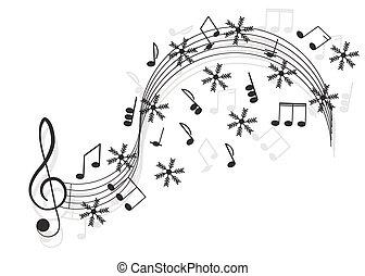 music., clave de sol, y, notas, con, copo de nieve, para, su, design.