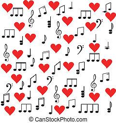 music., clave de sol, y, notas, para, su, diseño