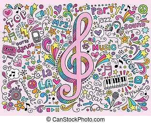 Music Clef Groovy Psychedelic Doodles Hand Drawn Notebook Doodle Design