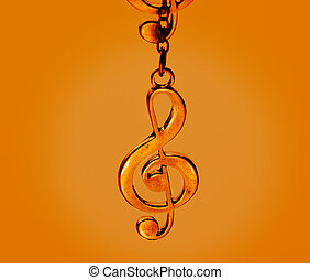 Music clef, colorful vibrant concept
