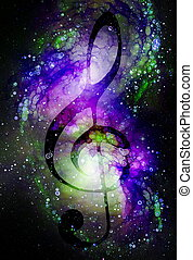Music clef in space with stars. abstract color background. Glass effect. Music concept.