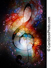 Music clef in space with stars. abstract color background. ...