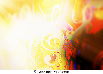 music clef in sun light and color background. Music concept....