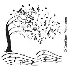 music - vector musical tree
