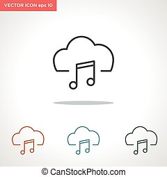 music cloud vector line icon isolated on white background