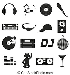 music club dj black simple icons set eps10