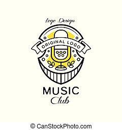 Music club logo design, heraldic shield with retro microphone, retro badge for music studio, shop, karaoke vector Illustration on a white background
