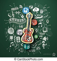 Music collage with icons on blackboard
