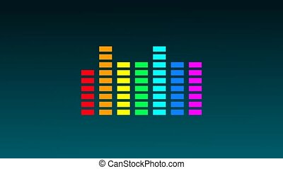 Music colorful equalizer on gradient dark background flat animation