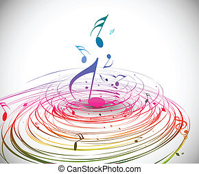 Music colorful music note theme - rainbow swirl wave line background.