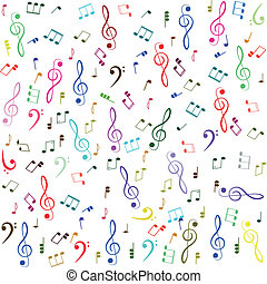 Music. Colorful treble clef and notes - Music. Treble clef...