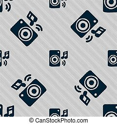 music column, disco, music, melody, speaker icon sign. Seamless pattern with geometric texture. Vector