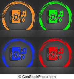 music column, disco, music, melody, speaker icon symbol. Fashionable modern style. In the orange, green, blue, green design.