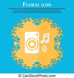 music column, disco, music, melody, speaker. Floral flat design on a blue abstract background with place for your text. Vector