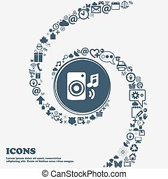 music column, disco, music, melody, speaker icon sign in the center. Around the many beautiful symbols twisted in a spiral. You can use each separately for your design. Vector