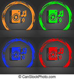 music column, disco, music, melody, speaker icon symbol. Fashionable modern style. In the orange, green, blue, green design.