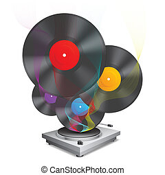 Music concept. - Color vinyl records and turntable.