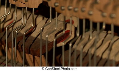 Music concept. Internal structure of piano, close-up