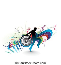 music concept - silhouetted a young man enjoy music in ...