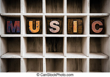 Music Concept Wooden Letterpress Type in Drawer