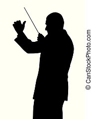 Music conductor - Illustration silhouette of a music...