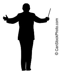 Illustration silhouette of a music conductor. Isolated white background. EPS file available.