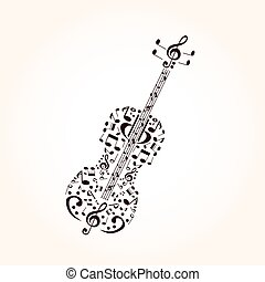 Music, contrabass concept made with musical symbols