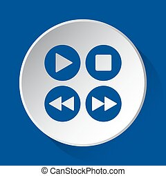 music control buttons - blue icon on white button
